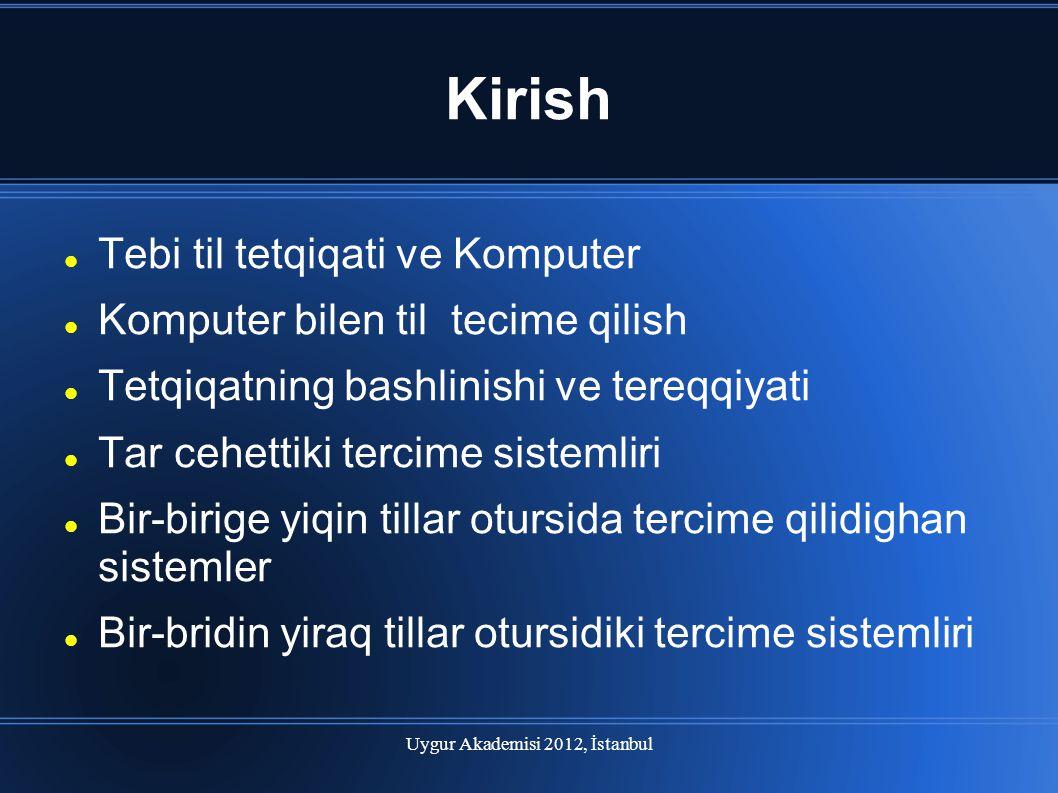 Uygur Akademisi 2012, İstanbul Kirish Tebi til tetqiqati ve Komputer Komputer bilen til tecime qilish Tetqiqatning bashlinishi ve tereqqiyati Tar cehe