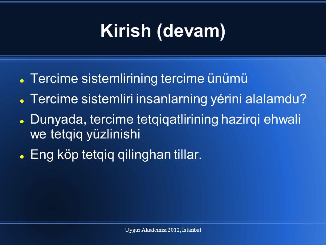 Uygur Akademisi 2012, İstanbul Kirish (devam) Tercime sistemlirining tercime ünümü Tercime sistemliri insanlarning yérini alalamdu? Dunyada, tercime t