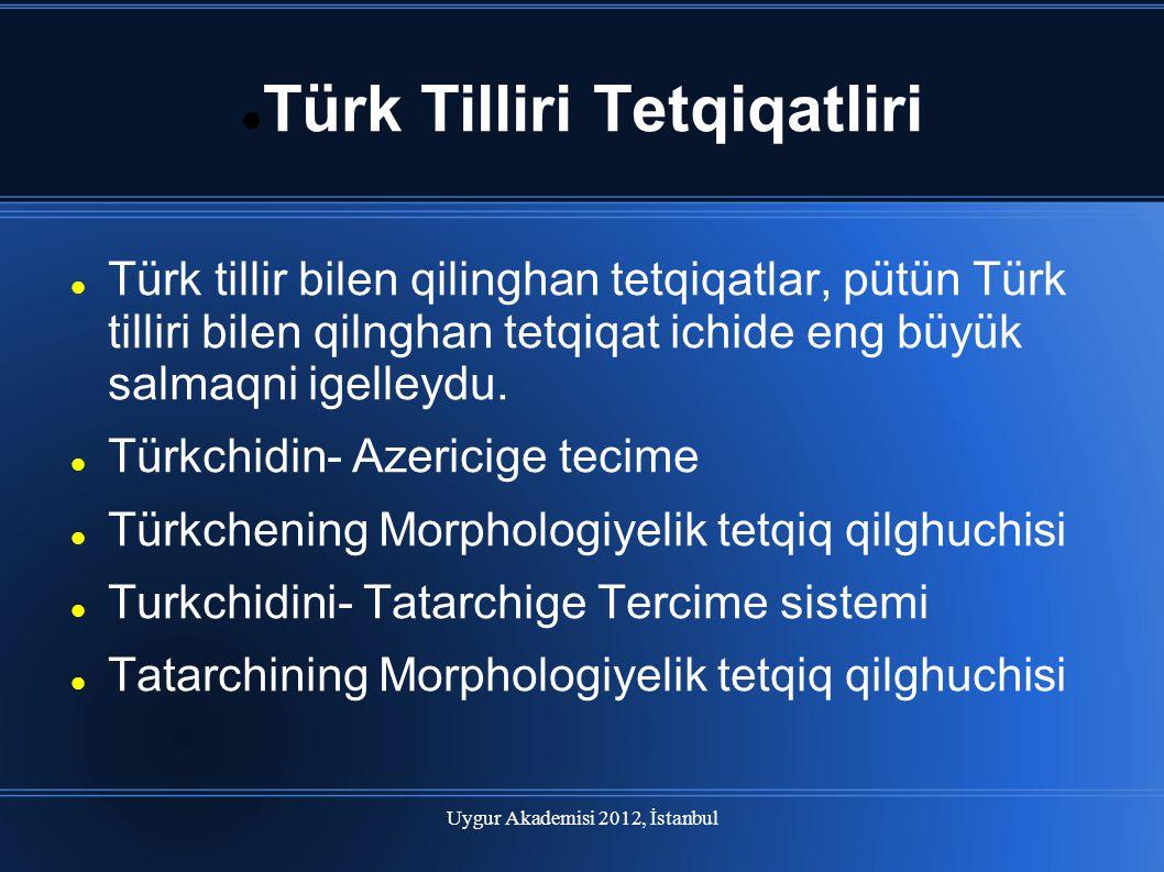 Uygur Akademisi 2012, İstanbul Türk Tilliri Tetqiqatliri(devam) Türkmenchining morphologiyelik tetqiq qilghuchisi.