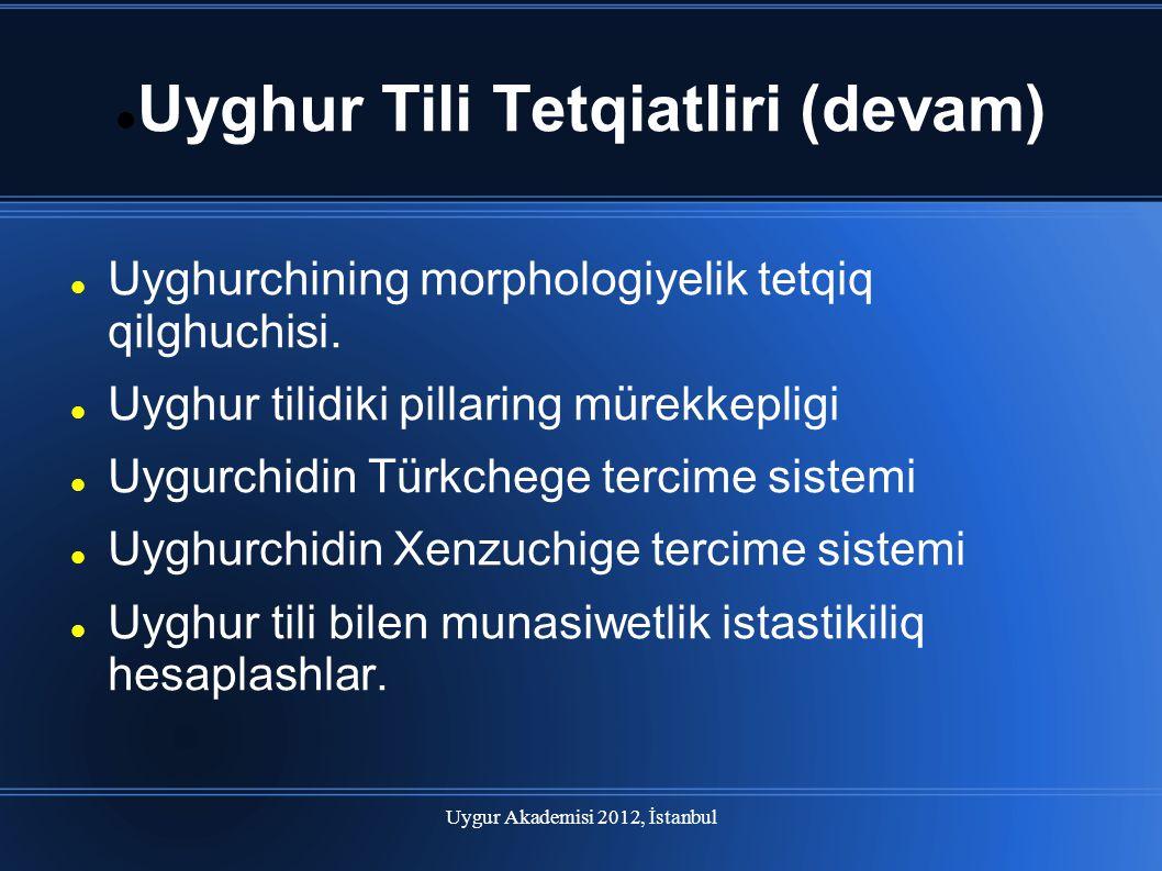 Uygur Akademisi 2012, İstanbul Uyghur Tili Tetqiatliri (devam) Uyghurchining morphologiyelik tetqiq qilghuchisi. Uyghur tilidiki pillaring mürekkeplig