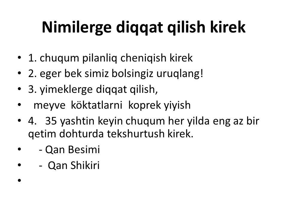 Nimilerge diqqat qilish kirek 1. chuqum pilanliq cheniqish kirek 2.