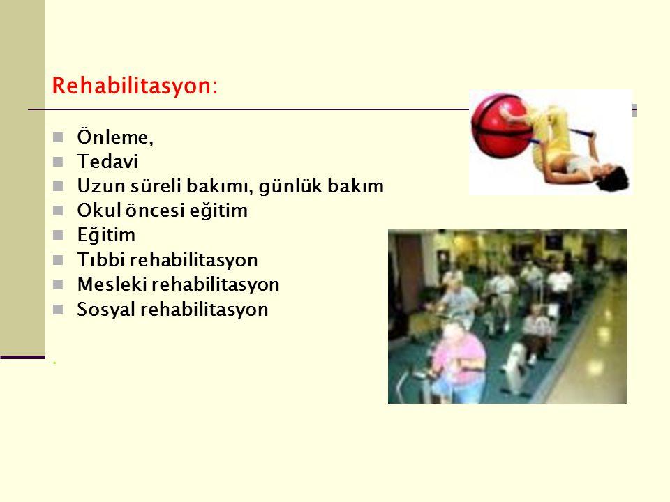 Rehabilitasyon: Önleme, Tedavi Uzun süreli bakımı, günlük bakım Okul öncesi eğitim Eğitim Tıbbi rehabilitasyon Mesleki rehabilitasyon Sosyal rehabilit