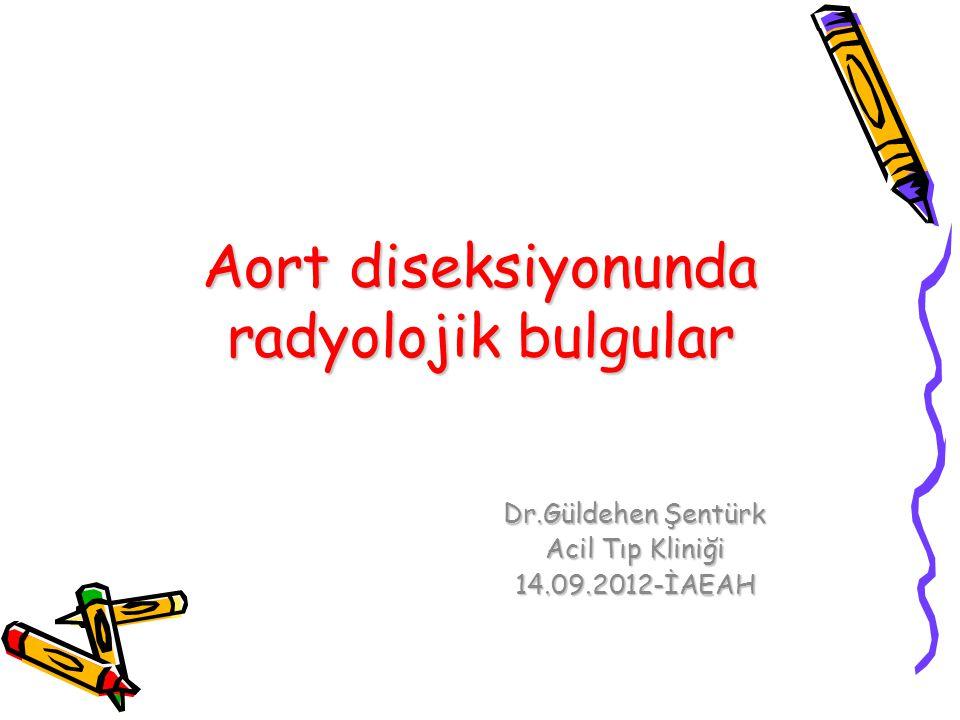 Aort diseksiyonunda radyolojik bulgular Dr.Güldehen Şentürk Acil Tıp Kliniği 14.09.2012-İAEAH