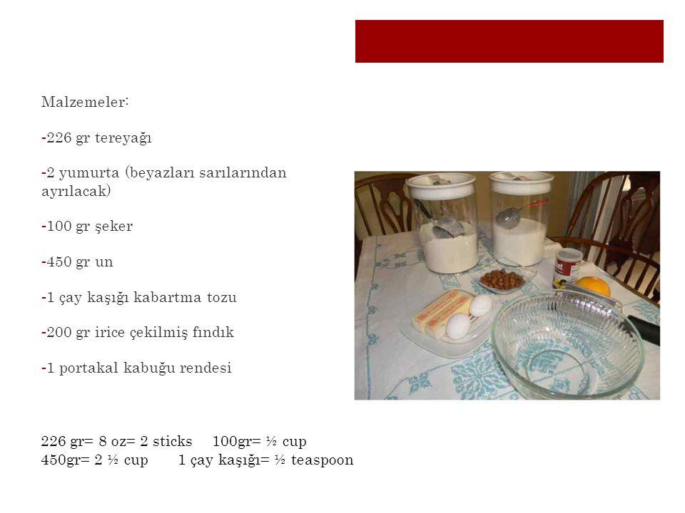 Malzemeler: -226 gr tereyağı -2 yumurta (beyazları sarılarından ayrılacak) -100 gr şeker -450 gr un -1 çay kaşığı kabartma tozu -200 gr irice çekilmiş