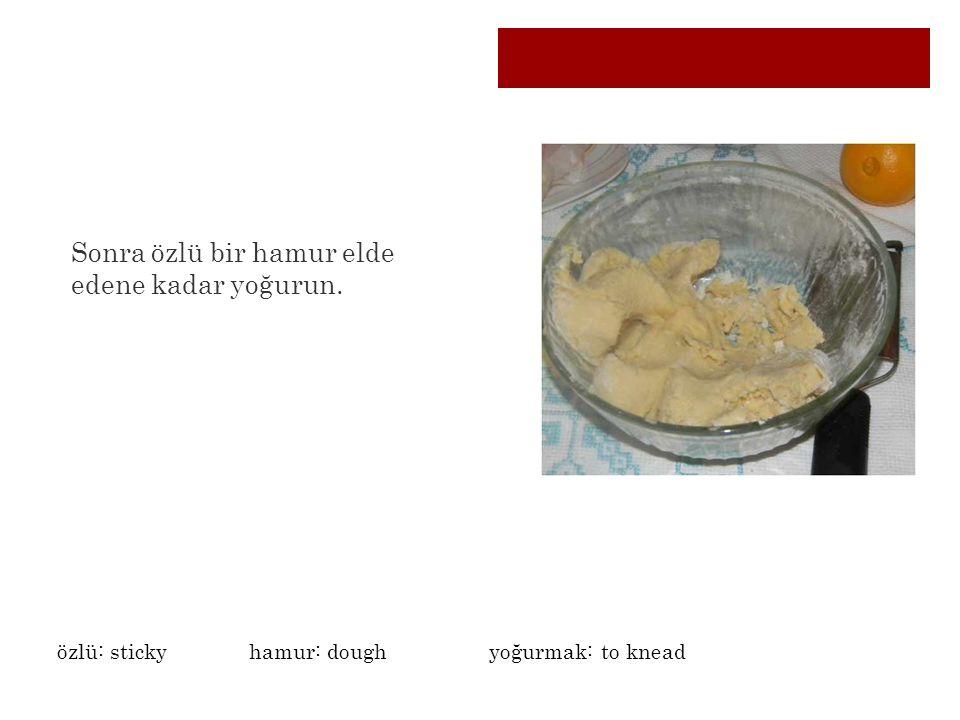 Sonra özlü bir hamur elde edene kadar yoğurun. özlü: stickyhamur: dough yoğurmak: to knead
