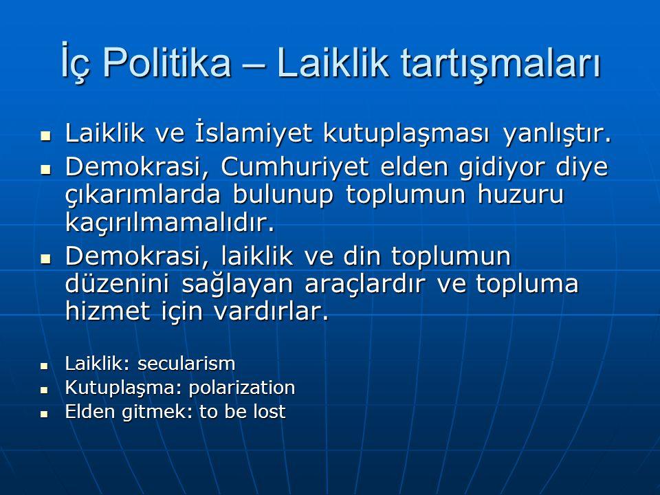 İç Politika – Laiklik tartışmaları Laiklik ve İslamiyet kutuplaşması yanlıştır.