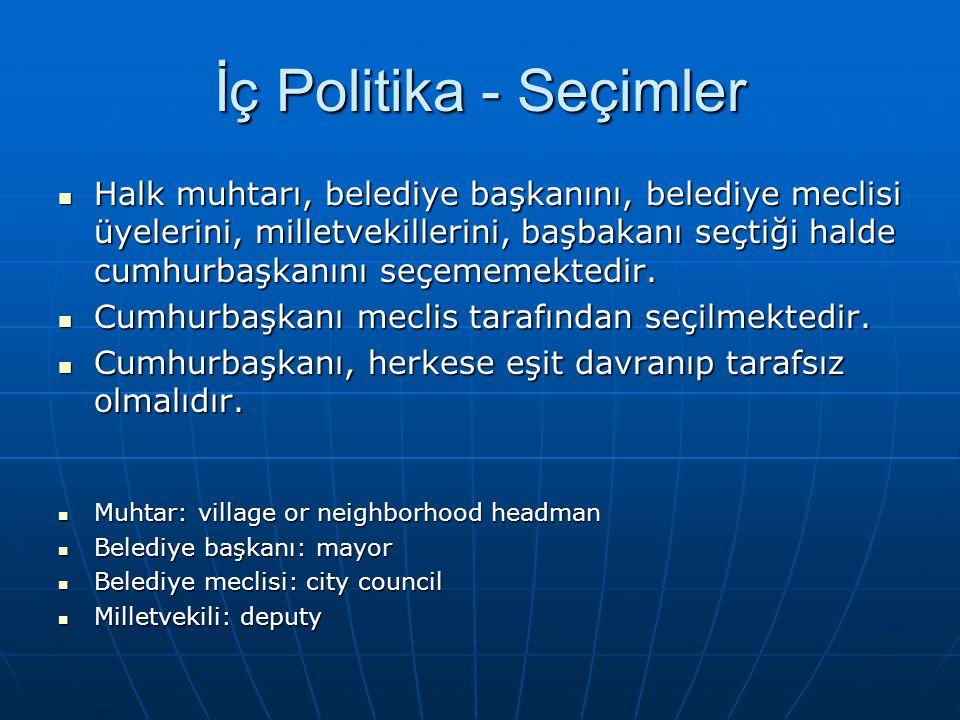 İç Politika - Seçimler Halk muhtarı, belediye başkanını, belediye meclisi üyelerini, milletvekillerini, başbakanı seçtiği halde cumhurbaşkanını seçememektedir.