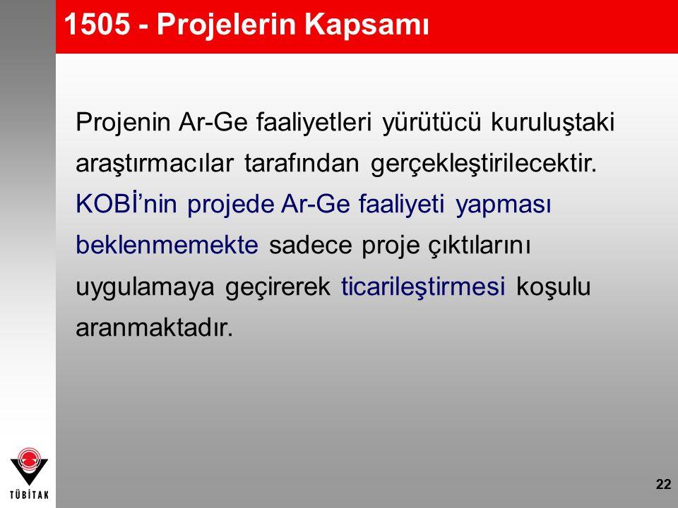 22 1505 - Projelerin Kapsamı 22 Projenin Ar-Ge faaliyetleri yürütücü kuruluştaki araştırmacılar tarafından gerçekleştirilecektir. KOBİ'nin projede Ar-