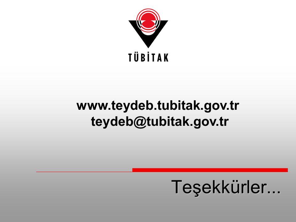 Teşekkürler... www.teydeb.tubitak.gov.tr teydeb@tubitak.gov.tr