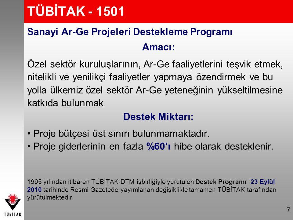 7 TÜBİTAK - 1501 Sanayi Ar-Ge Projeleri Destekleme Programı Amacı: Özel sektör kuruluşlarının, Ar-Ge faaliyetlerini teşvik etmek, nitelikli ve yenilik