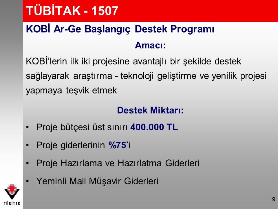9 TÜBİTAK - 1507 KOBİ Ar-Ge Başlangıç Destek Programı Amacı: KOBİ'lerin ilk iki projesine avantajlı bir şekilde destek sağlayarak araştırma - teknoloj