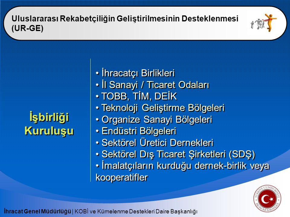 İhracat Genel Müdürlüğü | KOBİ ve Kümelenme Destekleri Daire Başkanlığı Uluslararası Rekabetçiliğin Geliştirilmesinin Desteklenmesi (UR-GE) İşbirliği Kuruluşu İhracatçı Birlikleri İl Sanayi / Ticaret Odaları TOBB, TİM, DEİK Teknoloji Geliştirme Bölgeleri Organize Sanayi Bölgeleri Endüstri Bölgeleri Sektörel Üretici Dernekleri Sektörel Dış Ticaret Şirketleri (SDŞ) İmalatçıların kurduğu dernek-birlik veya kooperatifler İhracatçı Birlikleri İl Sanayi / Ticaret Odaları TOBB, TİM, DEİK Teknoloji Geliştirme Bölgeleri Organize Sanayi Bölgeleri Endüstri Bölgeleri Sektörel Üretici Dernekleri Sektörel Dış Ticaret Şirketleri (SDŞ) İmalatçıların kurduğu dernek-birlik veya kooperatifler
