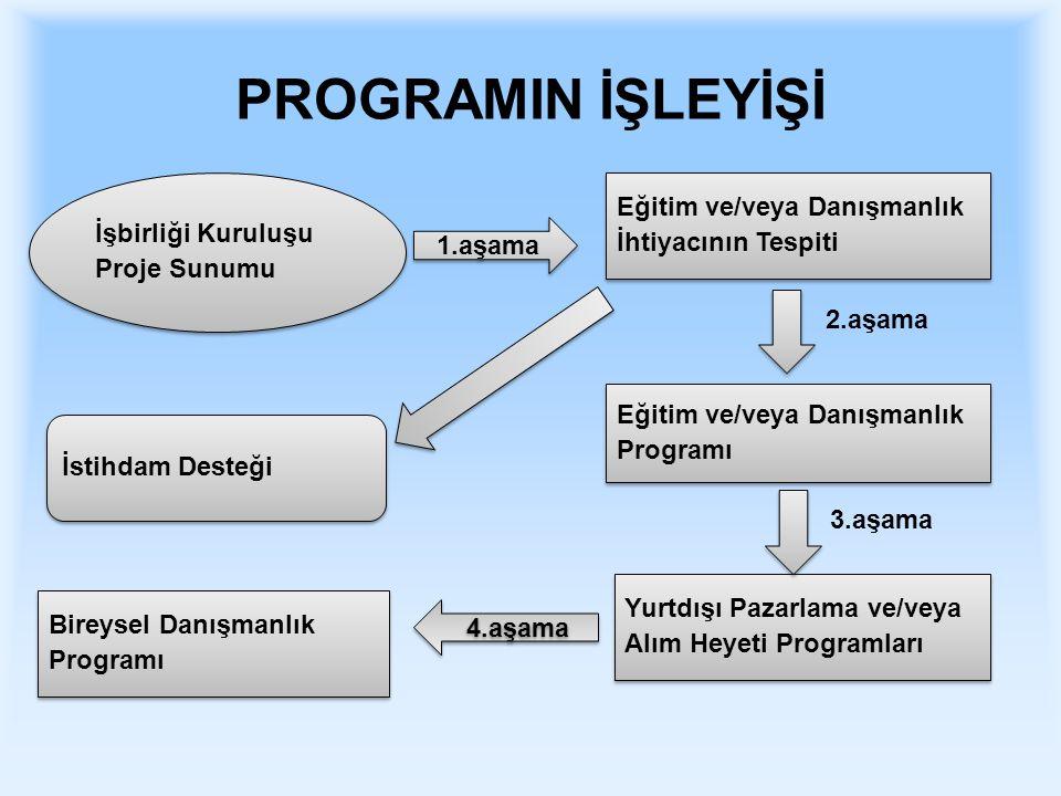 PROGRAMIN İŞLEYİŞİ Eğitim ve/veya Danışmanlık İhtiyacının Tespiti Eğitim ve/veya Danışmanlık İhtiyacının Tespiti Yurtdışı Pazarlama ve/veya Alım Heyeti Programları Yurtdışı Pazarlama ve/veya Alım Heyeti Programları Eğitim ve/veya Danışmanlık Programı Eğitim ve/veya Danışmanlık Programı Bireysel Danışmanlık Programı Bireysel Danışmanlık Programı İşbirliği Kuruluşu Proje Sunumu İşbirliği Kuruluşu Proje Sunumu İstihdam Desteği 1.aşama 2.aşama 3.aşama 4.aşama