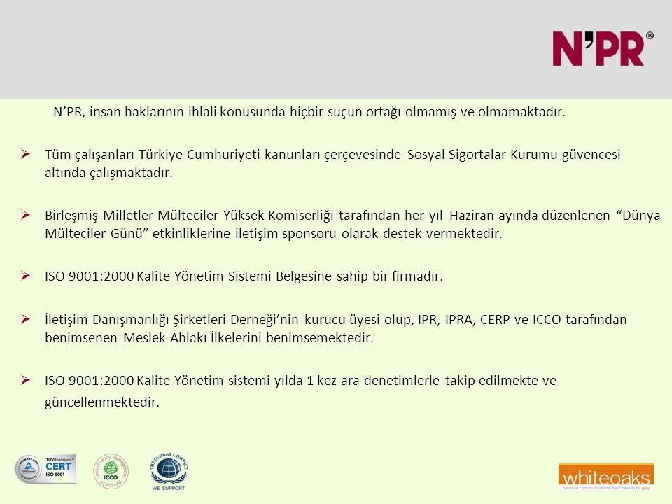 N'PR, insan haklarının ihlali konusunda hiçbir suçun ortağı olmamış ve olmamaktadır.  Tüm çalışanları Türkiye Cumhuriyeti kanunları çerçevesinde Sosy