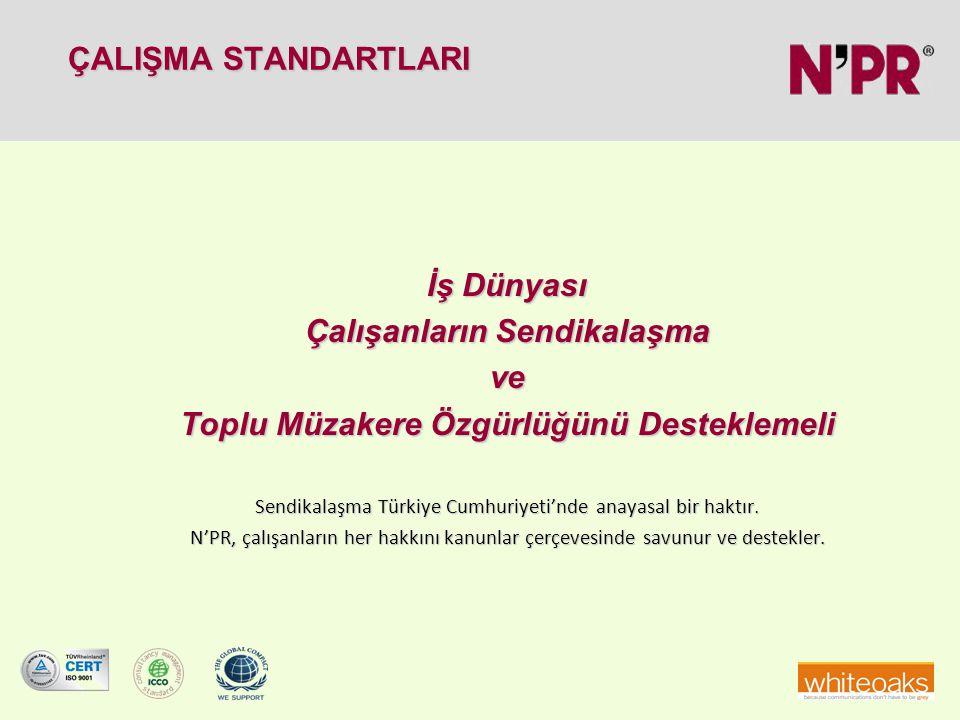 ÇALIŞMA STANDARTLARI ÇALIŞMA STANDARTLARI İş Dünyası Çalışanların Sendikalaşma ve Toplu Müzakere Özgürlüğünü Desteklemeli Sendikalaşma Türkiye Cumhuri
