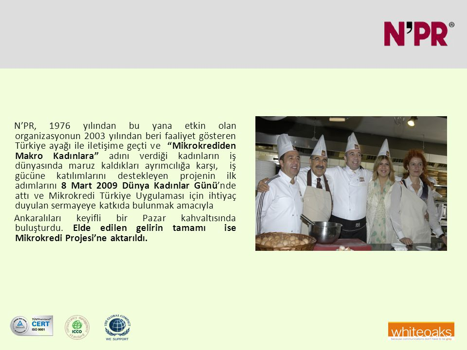N'PR, 1976 yılından bu yana etkin olan organizasyonun 2003 yılından beri faaliyet gösteren Türkiye ayağı ile iletişime geçti ve Mikrokrediden Makro Kadınlara adını verdiği kadınların iş dünyasında maruz kaldıkları ayrımcılığa karşı, iş gücüne katılımlarını destekleyen projenin ilk adımlarını 8 Mart 2009 Dünya Kadınlar Günü'nde attı ve Mikrokredi Türkiye Uygulaması için ihtiyaç duyulan sermayeye katkıda bulunmak amacıyla Ankaralıları keyifli bir Pazar kahvaltısında buluşturdu.