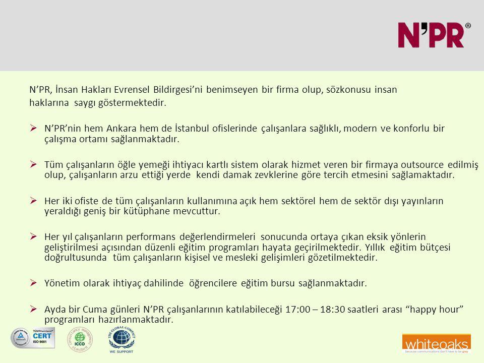 N'PR, İnsan Hakları Evrensel Bildirgesi'ni benimseyen bir firma olup, sözkonusu insan haklarına saygı göstermektedir.  N'PR'nin hem Ankara hem de İst