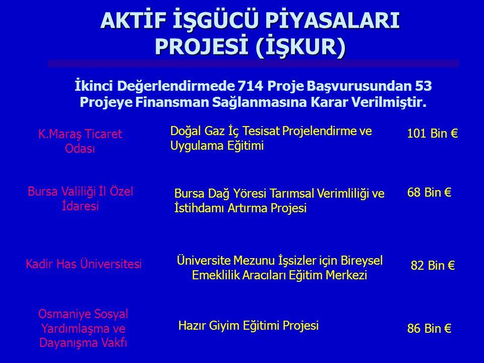 K.Maraş Ticaret Odası AKTİF İŞGÜCÜ PİYASALARI PROJESİ (İŞKUR) Doğal Gaz İç Tesisat Projelendirme ve Uygulama Eğitimi 101 Bin € Bursa Valiliği İl Özel İdaresi Bursa Dağ Yöresi Tarımsal Verimliliği ve İstihdamı Artırma Projesi 68 Bin € Kadir Has Üniversitesi Üniversite Mezunu İşsizler için Bireysel Emeklilik Aracıları Eğitim Merkezi 82 Bin € Osmaniye Sosyal Yardımlaşma ve Dayanışma Vakfı Hazır Giyim Eğitimi Projesi 86 Bin € İkinci Değerlendirmede 714 Proje Başvurusundan 53 Projeye Finansman Sağlanmasına Karar Verilmiştir.