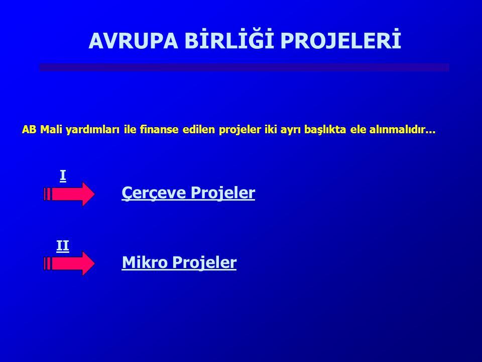 AVRUPA BİRLİĞİ PROJELERİ AB Mali yardımları ile finanse edilen projeler iki ayrı başlıkta ele alınmalıdır… I II Çerçeve Projeler Mikro Projeler