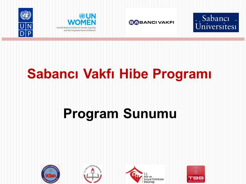 Birleşmiş Milletler Kadınların İnsan Haklarının Geliştirilmesi Ortak Programı Donör: Sabancı Vakfı Toplam Bütçe: 1.700.000 dolar Uygulayıcı Ortaklar: Birleşmiş Milletler Kalkınma Programı (UNDP) Birleşmiş Milletler Toplumsal Cinsiyet Eşitliği ve Kadının Güçlenmesi Birimi (UN WOMEN) Sabancı Üniversitesi 2