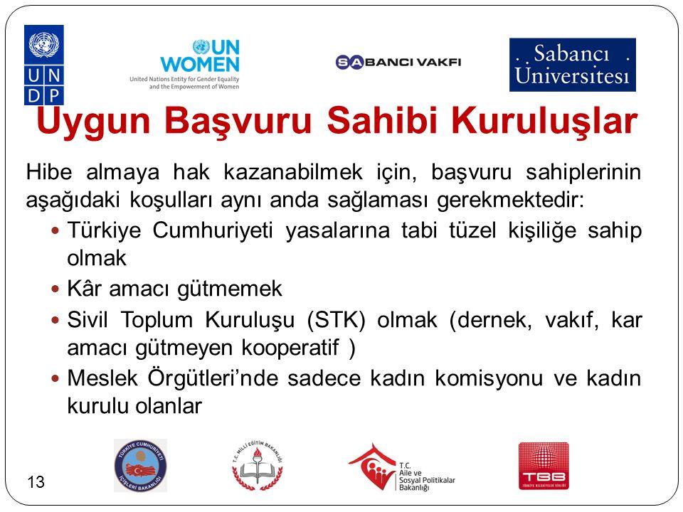 Uygun Başvuru Sahibi Kuruluşlar Hibe almaya hak kazanabilmek için, başvuru sahiplerinin aşağıdaki koşulları aynı anda sağlaması gerekmektedir: Türkiye