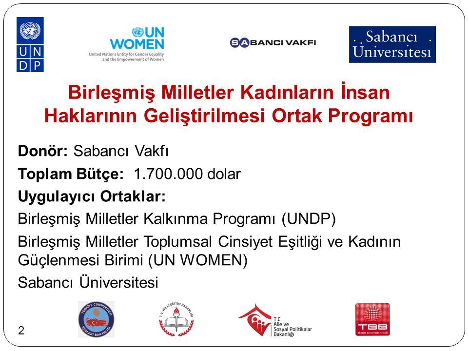 Birleşmiş Milletler Kadınların İnsan Haklarının Geliştirilmesi Ortak Programı Donör: Sabancı Vakfı Toplam Bütçe: 1.700.000 dolar Uygulayıcı Ortaklar: