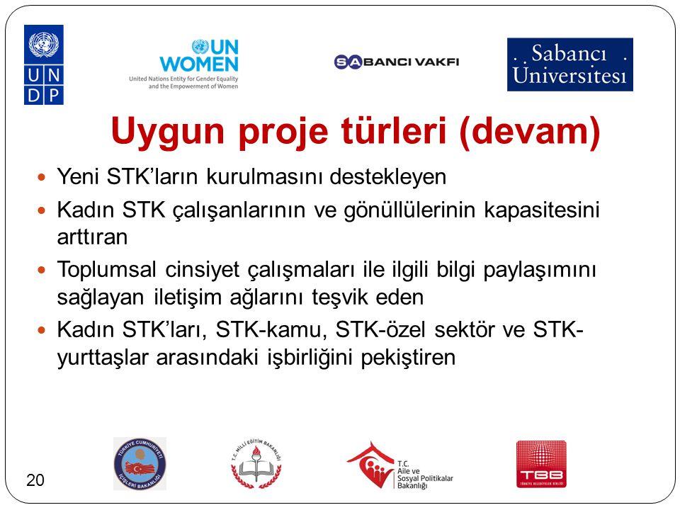 Uygun proje türleri (devam) Yeni STK'ların kurulmasını destekleyen Kadın STK çalışanlarının ve gönüllülerinin kapasitesini arttıran Toplumsal cinsiyet