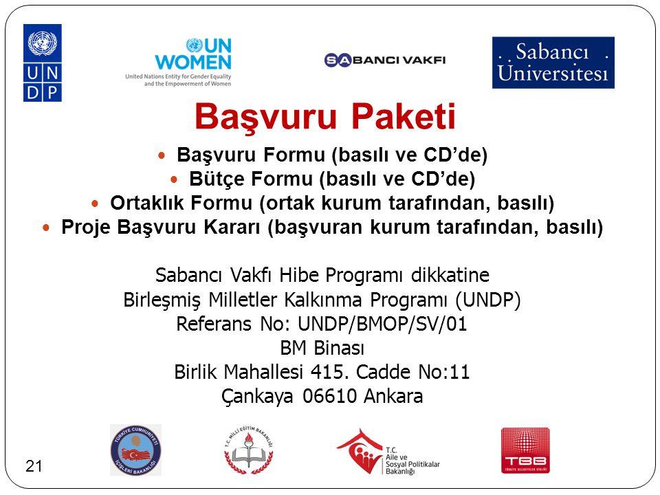 Başvuru Paketi Başvuru Formu (basılı ve CD'de) Bütçe Formu (basılı ve CD'de) Ortaklık Formu (ortak kurum tarafından, basılı) Proje Başvuru Kararı (baş