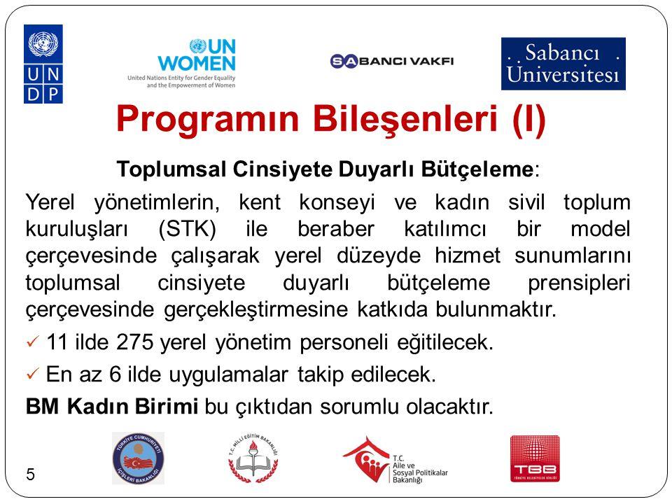 Programın Bileşenleri (I) Toplumsal Cinsiyete Duyarlı Bütçeleme: Yerel yönetimlerin, kent konseyi ve kadın sivil toplum kuruluşları (STK) ile beraber