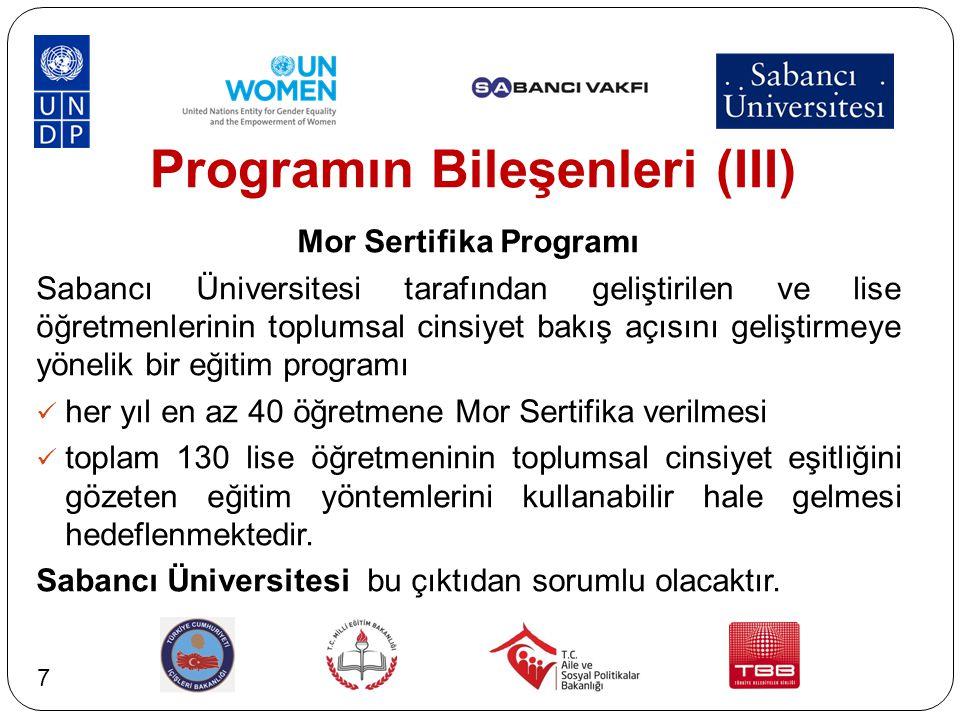 Programın Bileşenleri (III) Mor Sertifika Programı Sabancı Üniversitesi tarafından geliştirilen ve lise öğretmenlerinin toplumsal cinsiyet bakış açısı