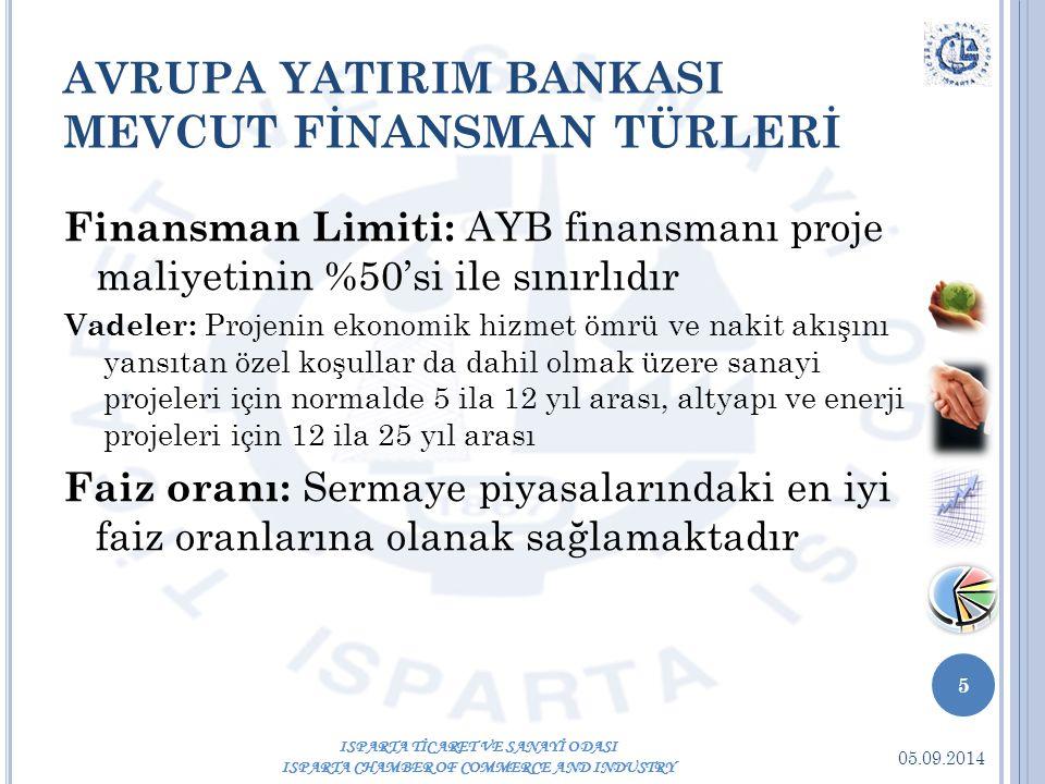 05.09.2014 5 ISPARTA TİCARET VE SANAYİ ODASI ISPARTA CHAMBER OF COMMERCE AND INDUSTRY AVRUPA YATIRIM BANKASI MEVCUT FİNANSMAN TÜRLERİ Finansman Limiti: AYB finansmanı proje maliyetinin %50'si ile sınırlıdır Vadeler: Projenin ekonomik hizmet ömrü ve nakit akışını yansıtan özel koşullar da dahil olmak üzere sanayi projeleri için normalde 5 ila 12 yıl arası, altyapı ve enerji projeleri için 12 ila 25 yıl arası Faiz oranı: Sermaye piyasalarındaki en iyi faiz oranlarına olanak sağlamaktadır