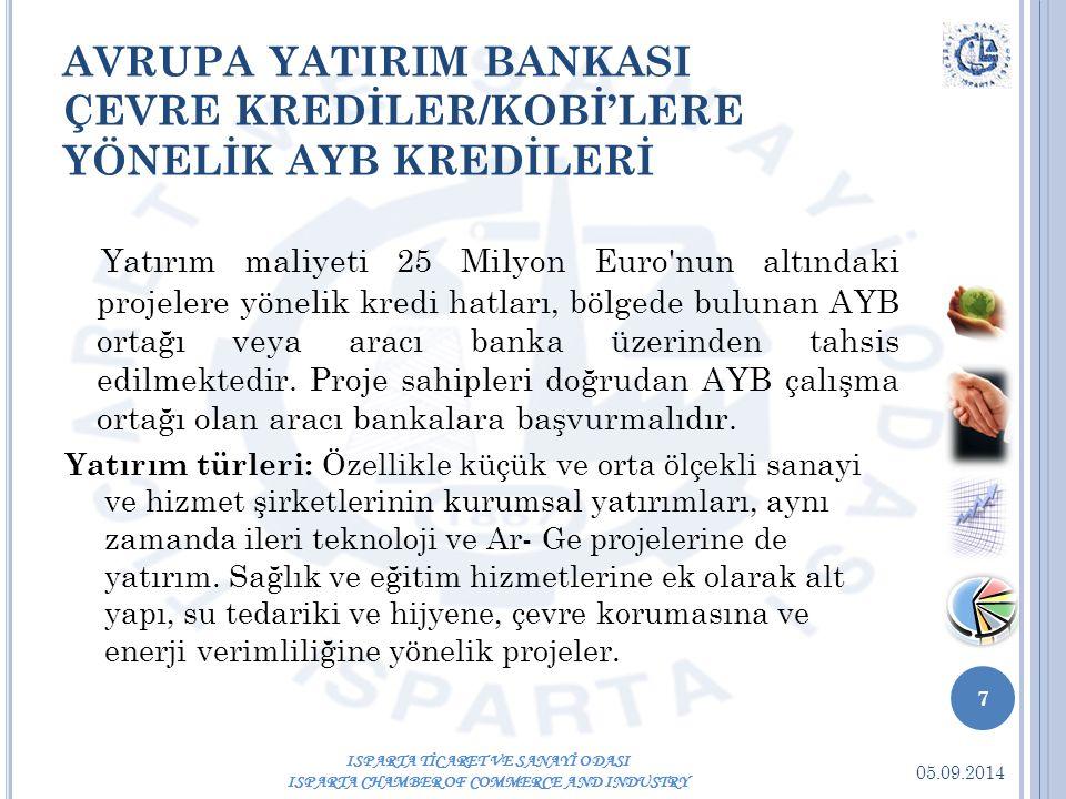 05.09.2014 7 ISPARTA TİCARET VE SANAYİ ODASI ISPARTA CHAMBER OF COMMERCE AND INDUSTRY AVRUPA YATIRIM BANKASI ÇEVRE KREDİLER/KOBİ'LERE YÖNELİK AYB KREDİLERİ Yatırım maliyeti 25 Milyon Euro nun altındaki projelere yönelik kredi hatları, bölgede bulunan AYB ortağı veya aracı banka üzerinden tahsis edilmektedir.
