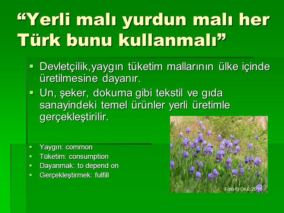 """""""Yerli malı yurdun malı her Türk bunu kullanmalı""""  Devletçilik,yaygın tüketim mallarının ülke içinde üretilmesine dayanır.  Un, şeker, dokuma gibi t"""