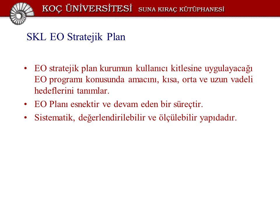 SKL EO Stratejik Plan EO stratejik plan kurumun kullanıcı kitlesine uygulayacağı EO programı konusunda amacını, kısa, orta ve uzun vadeli hedeflerini