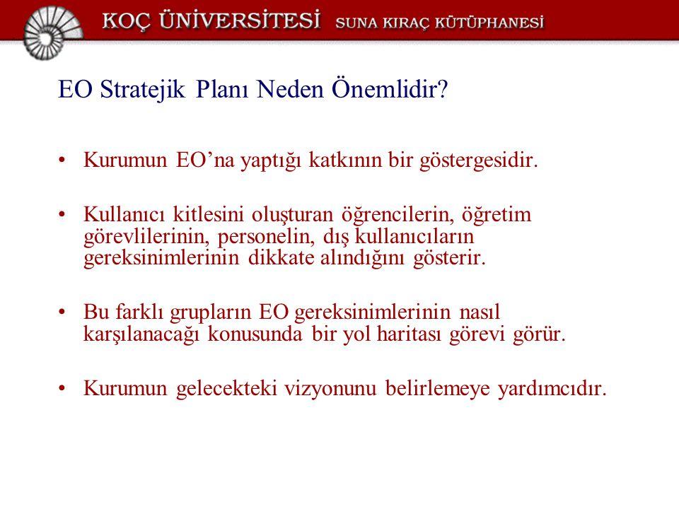 EO Stratejik Planı Neden Önemlidir? Kurumun EO'na yaptığı katkının bir göstergesidir. Kullanıcı kitlesini oluşturan öğrencilerin, öğretim görevlilerin