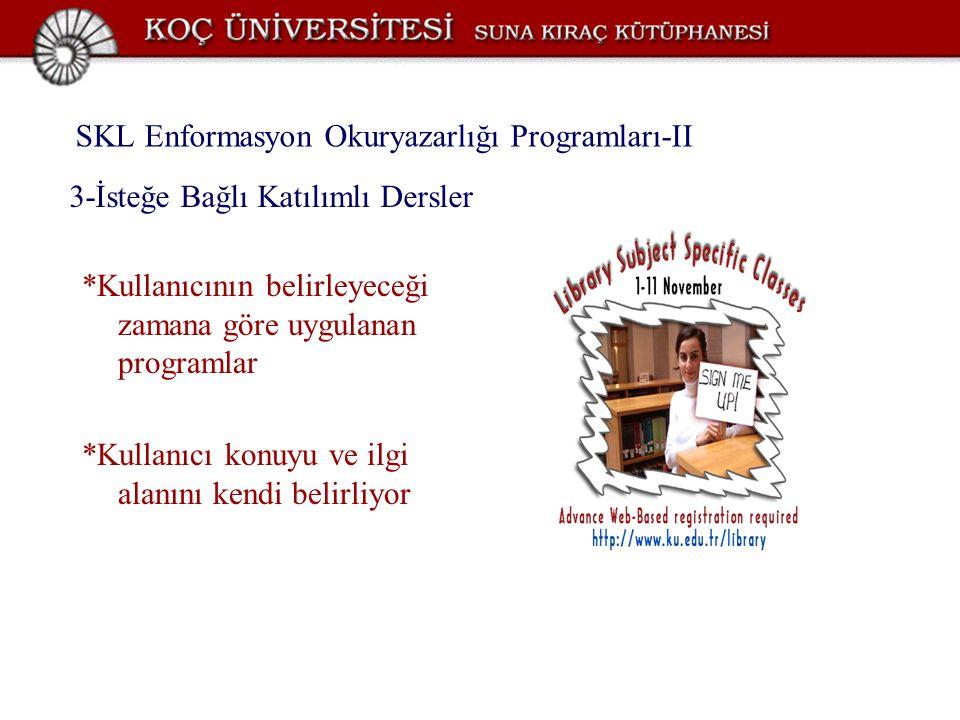 SKL Enformasyon Okuryazarlığı Programları-II *Kullanıcının belirleyeceği zamana göre uygulanan programlar *Kullanıcı konuyu ve ilgi alanını kendi beli
