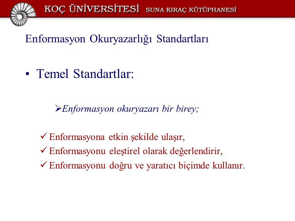 Enformasyon Okuryazarlığı Standartları Temel Standartlar:  Enformasyon okuryazarı bir birey; Enformasyona etkin şekilde ulaşır, Enformasyonu eleştire