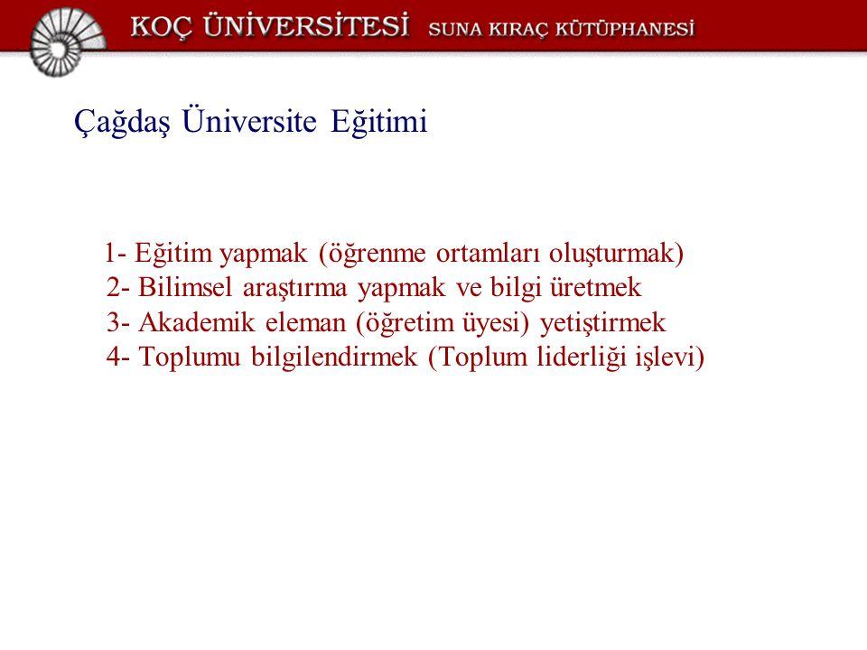 Çağdaş Üniversite Eğitimi 1- Eğitim yapmak (öğrenme ortamları oluşturmak) 2- Bilimsel araştırma yapmak ve bilgi üretmek 3- Akademik eleman (öğretim üy