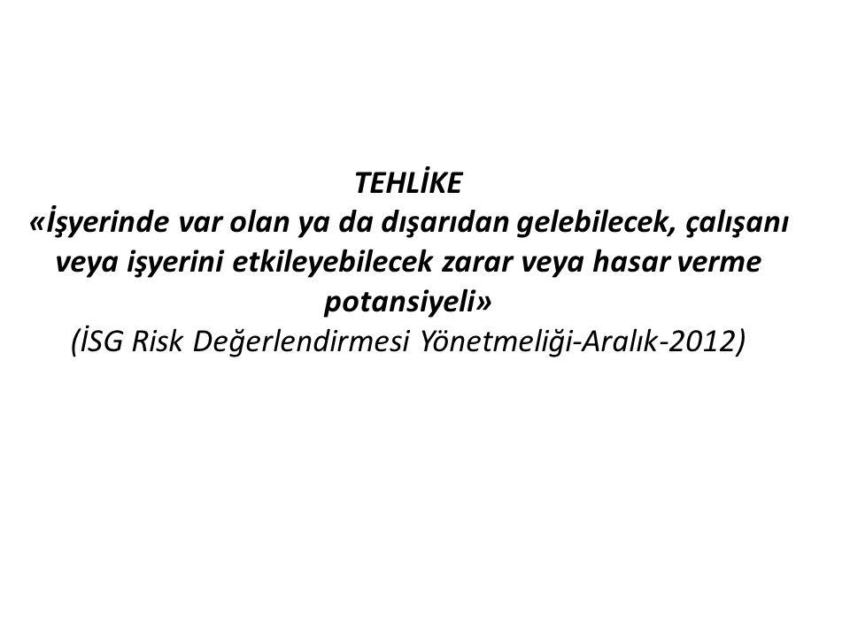TEHLİKE «İşyerinde var olan ya da dışarıdan gelebilecek, çalışanı veya işyerini etkileyebilecek zarar veya hasar verme potansiyeli» (İSG Risk Değerlendirmesi Yönetmeliği-Aralık-2012)