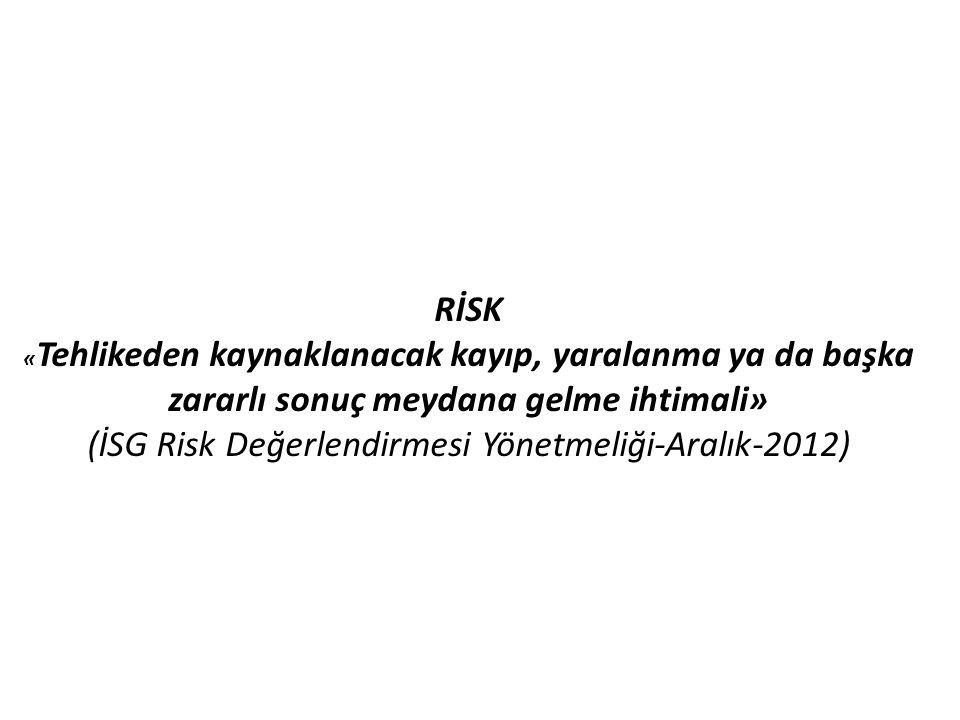 RİSK « Tehlikeden kaynaklanacak kayıp, yaralanma ya da başka zararlı sonuç meydana gelme ihtimali» (İSG Risk Değerlendirmesi Yönetmeliği-Aralık-2012)