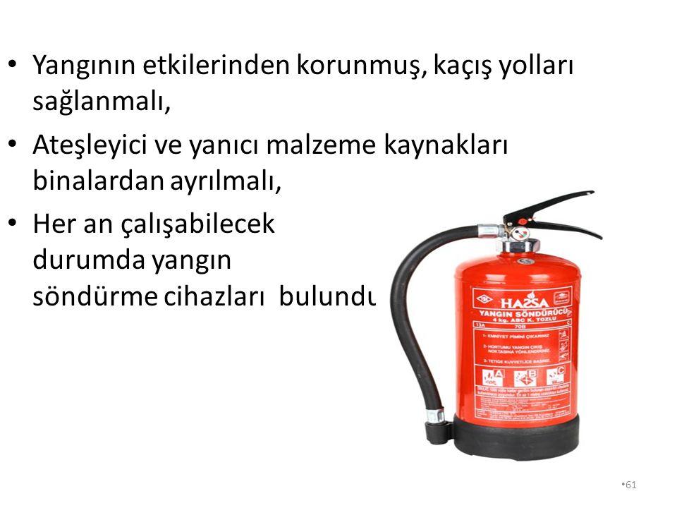 61 Yangının etkilerinden korunmuş, kaçış yolları sağlanmalı, Ateşleyici ve yanıcı malzeme kaynakları binalardan ayrılmalı, Her an çalışabilecek durumda yangın söndürme cihazları bulundurulmalıdır.