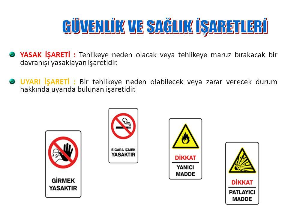 YASAK İŞARETİ : Tehlikeye neden olacak veya tehlikeye maruz bırakacak bir davranışı yasaklayan işaretidir.