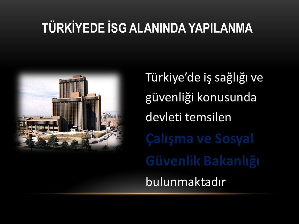 Türkiye'de iş sağlığı ve güvenliği konusunda devleti temsilen Çalışma ve Sosyal Güvenlik Bakanlığı bulunmaktadır TÜRKİYEDE İSG ALANINDA YAPILANMA