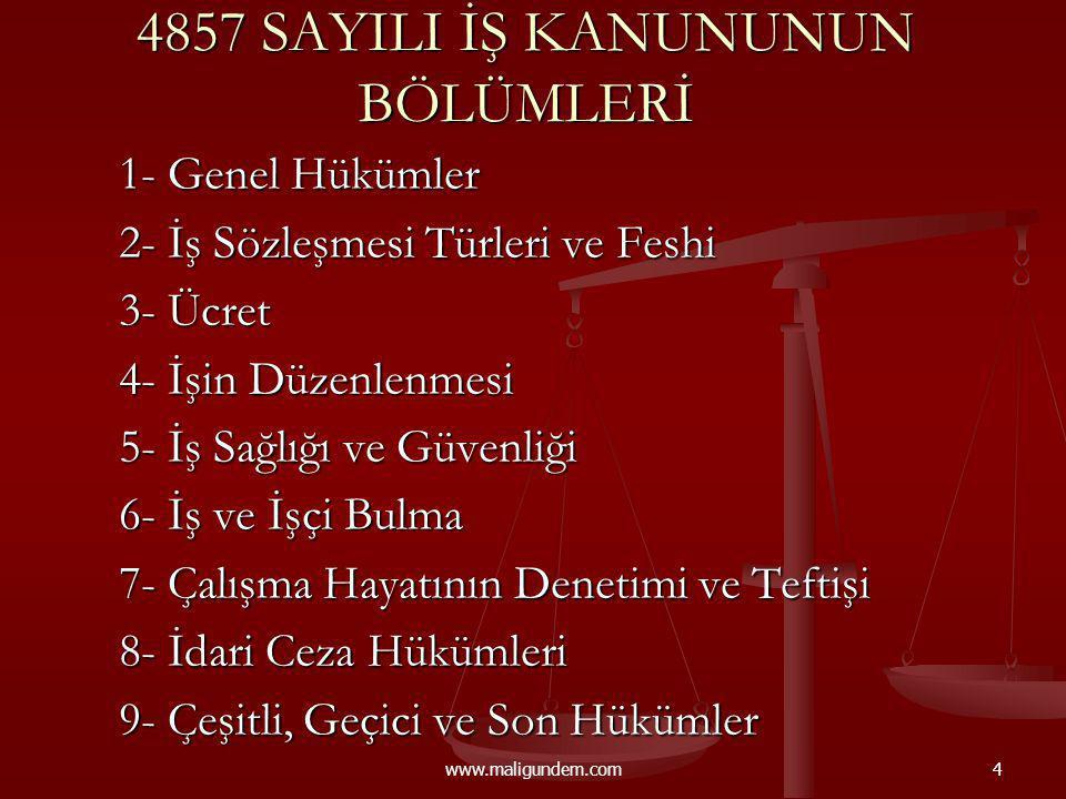 www.maligundem.com35 KIDEM TAZMİNATI Bir yıldan fazla çalışma şartı.