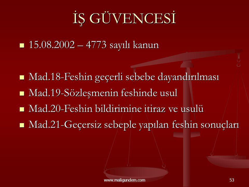 www.maligundem.com53 İŞ GÜVENCESİ 15.08.2002 – 4773 sayılı kanun 15.08.2002 – 4773 sayılı kanun Mad.18-Feshin geçerli sebebe dayandırılması Mad.18-Fes