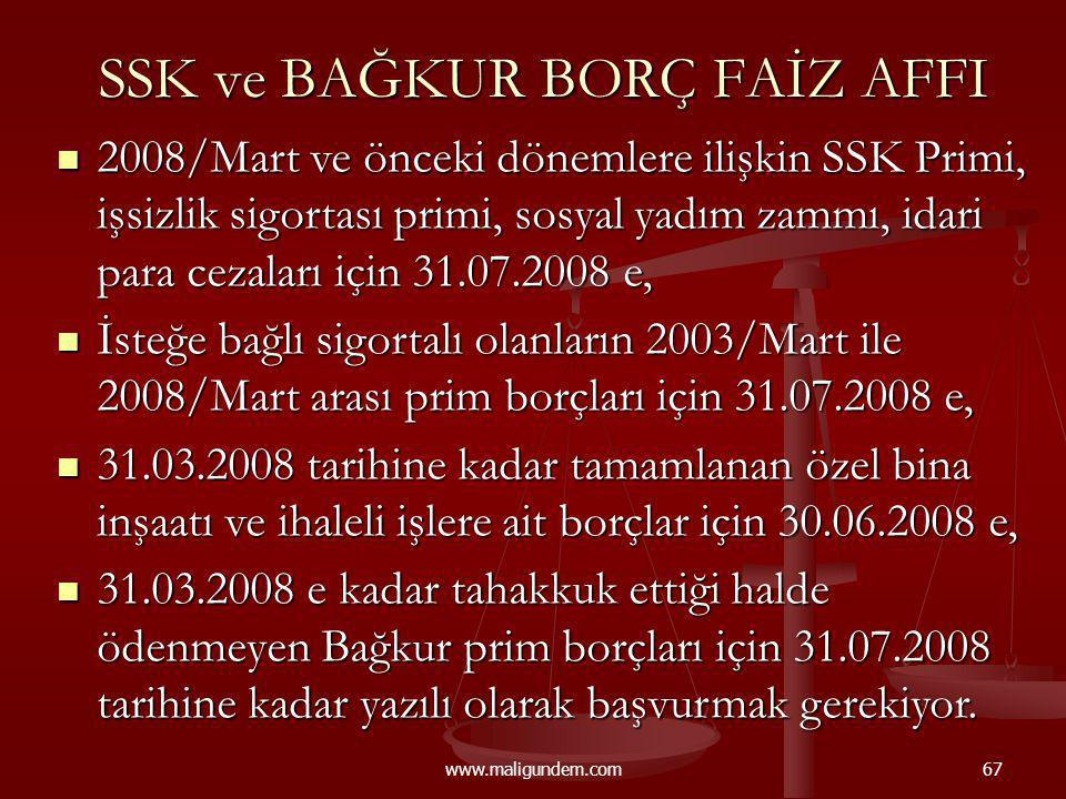 www.maligundem.com67 SSK ve BAĞKUR BORÇ FAİZ AFFI 2008/Mart ve önceki dönemlere ilişkin SSK Primi, işsizlik sigortası primi, sosyal yadım zammı, idari
