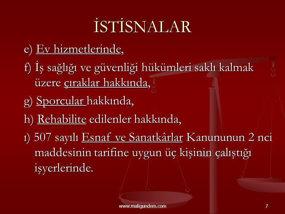 www.maligundem.com58 İDARİ PARA CEZALARI (2008 - ytl) İşyerinin açılışını ve kapanışını bildirmemek, işyerini bildirme yükümlülüğüne aykırı davranmak.