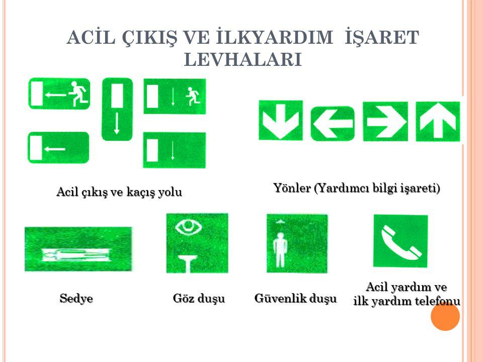 ACİL ÇIKIŞ VE İLKYARDIM İŞARET LEVHALARI Acil çıkış ve kaçış yolu Yönler (Yardımcı bilgi işareti) Sedye Güvenlik duşu Göz duşu Acil yardım ve ilk yard