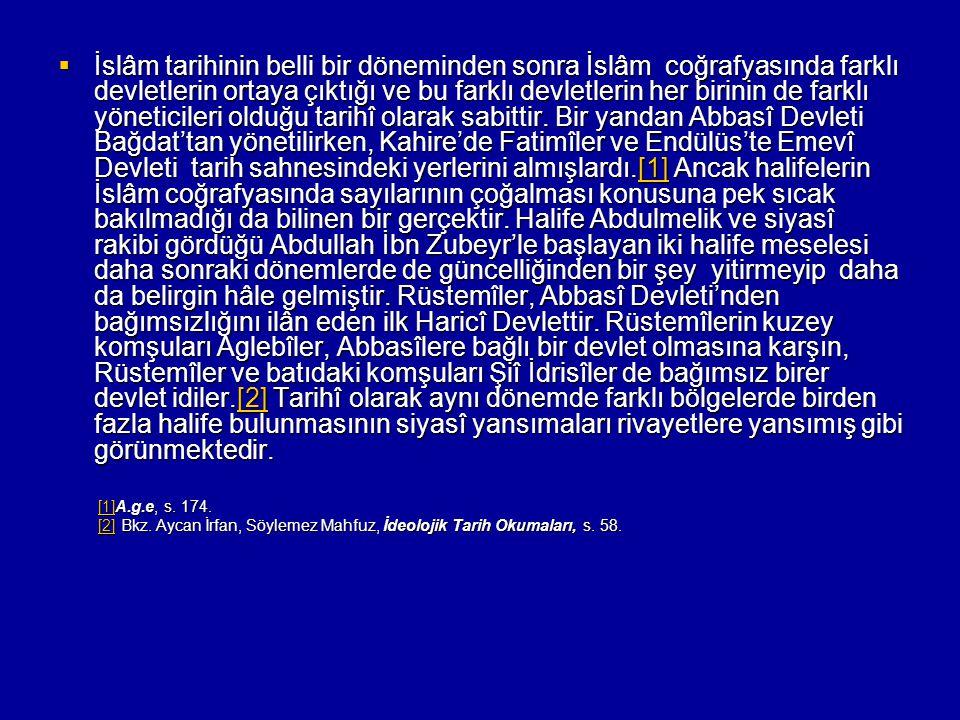  İslâm tarihinin belli bir döneminden sonra İslâm coğrafyasında farklı devletlerin ortaya çıktığı ve bu farklı devletlerin her birinin de farklı yöne