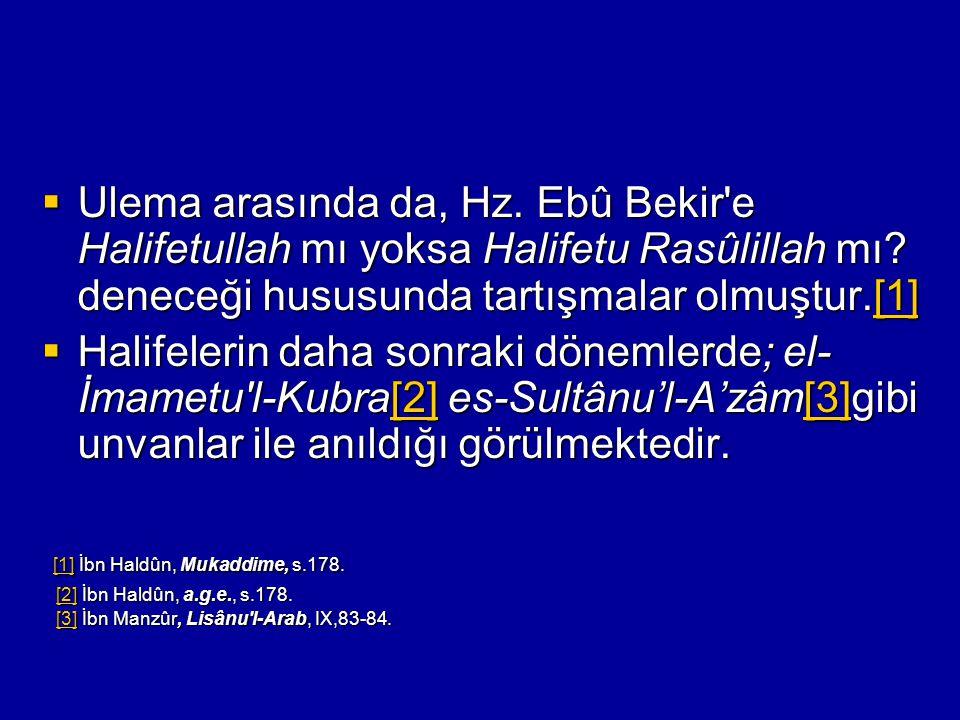  Ulema arasında da, Hz. Ebû Bekir'e Halifetullah mı yoksa Halifetu Rasûlillah mı? deneceği hususunda tartışmalar olmuştur.[1] [1]  Halifelerin daha